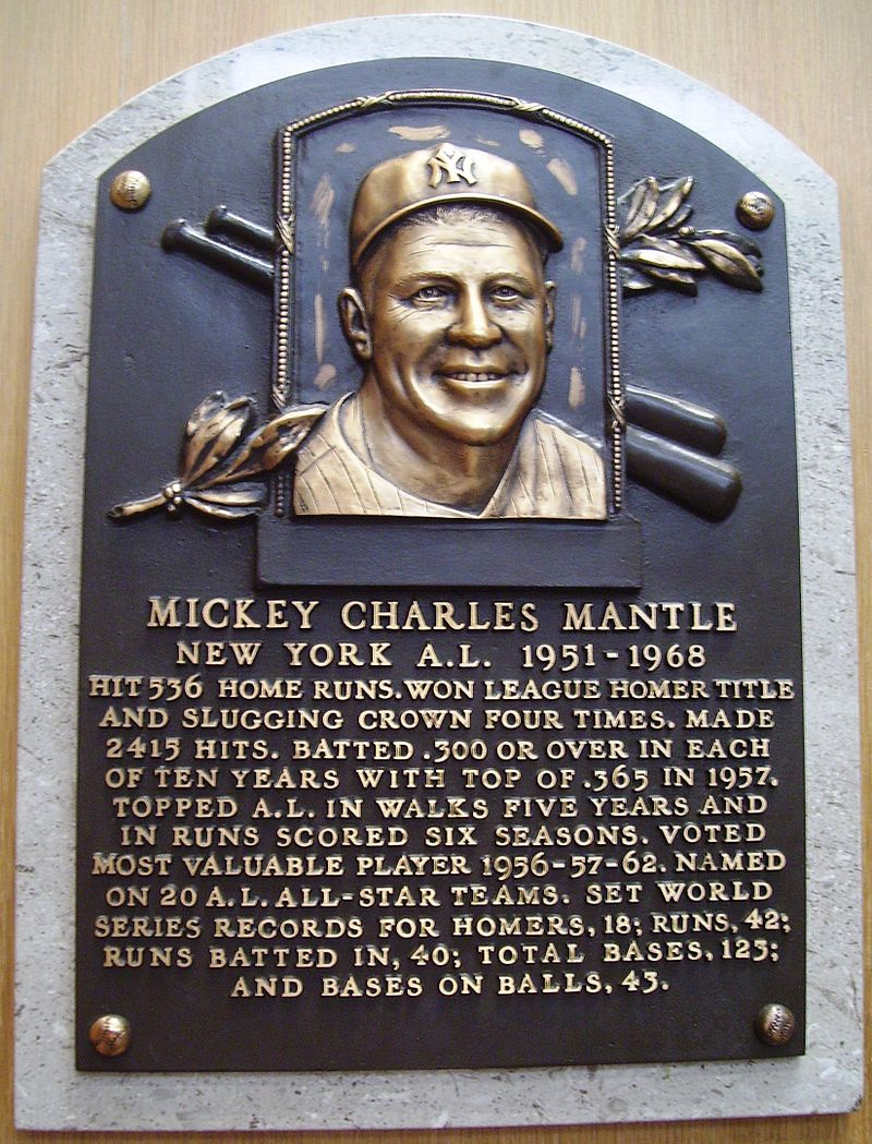 HOF_Mantle_Mickey_plaque