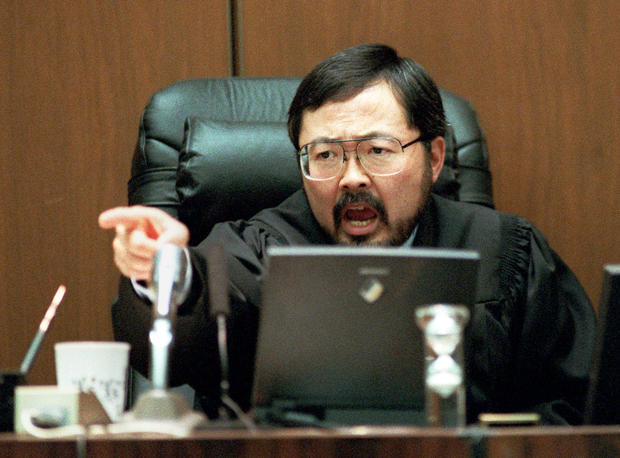 FOR USE SUNDAY, JUNE 8, 2014, AND THEREAFTER- In this Sept. 29, 1995 file photo, Los Angeles Superior Court Judge Lance Ito yells in court during the O.J. Simpson double-murder trial in Los Angeles. (AP Photo/Eric Draper, Pool, File)