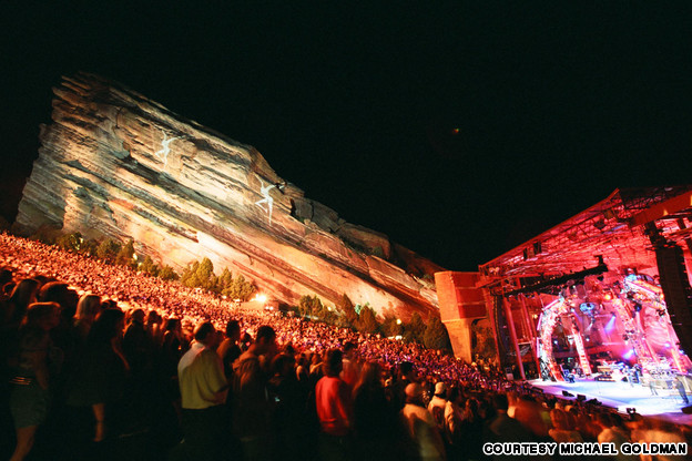 Dave Matthews Band @ RedRocks. Look at the Firedancers on the wall. PHOTO: CNN