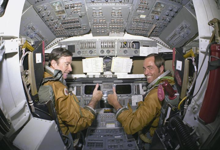 Pilots Young and Crippen aboard the Columbia PHOTO: biblenews1