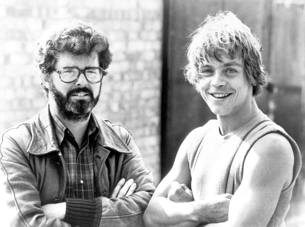 George Lucas and Mark Hamill on the set of the film 'the Empire Strikes Back' 1980 **Only available for publication in the UK and USA. Not available for the rest of the world ** Mandatory Credit: News Pictures/WENN.com