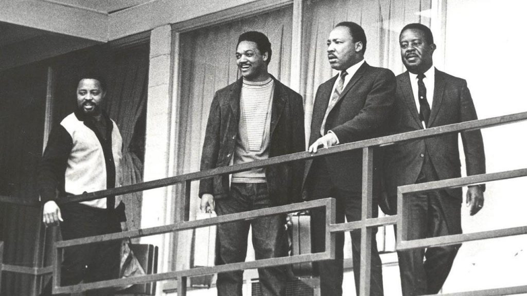 Martin Luther King Jr. standing with Jesse Jackson on the Balcony where he was murdered. PHOTO: ABClocal