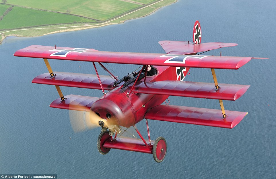 Replica of the Red Baron's Tri-PLane PHOTO: Dailymail