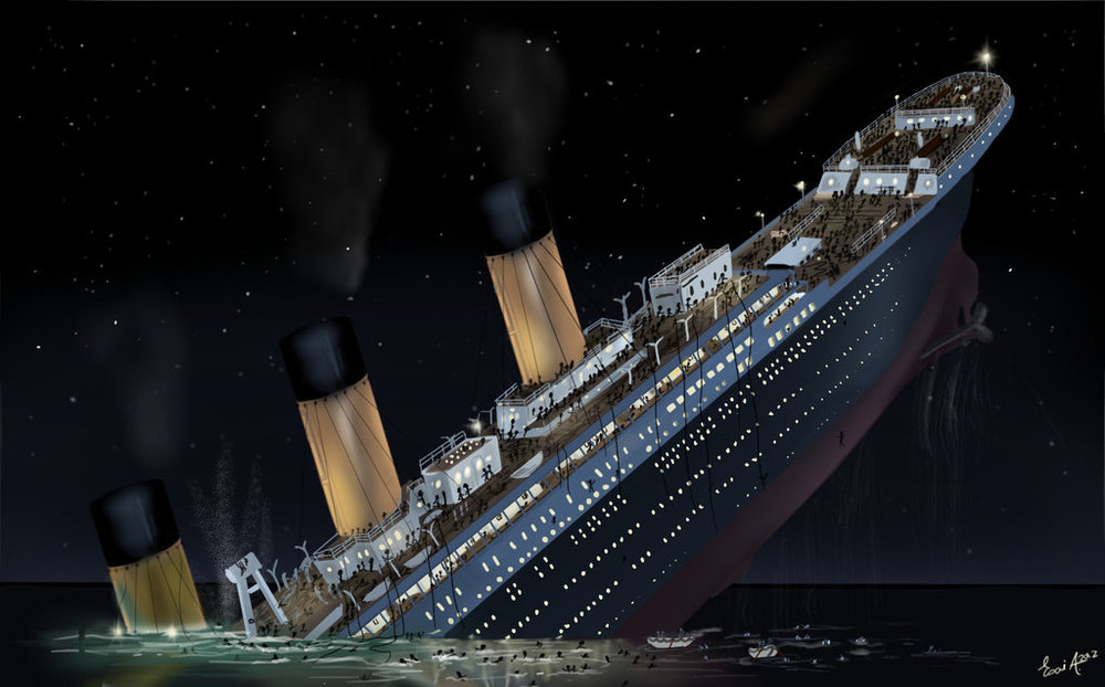 Computer rendering of what the titanic looked like when sinking. PHOTO: ultimatetitanic