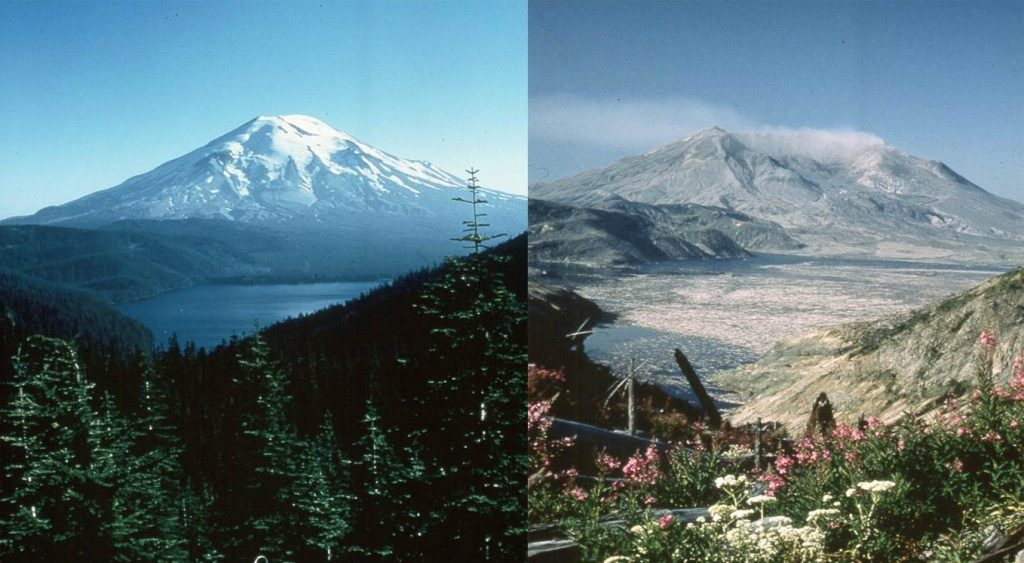 Mount St. Helens Before and After the blast Photo: Washington.Edu