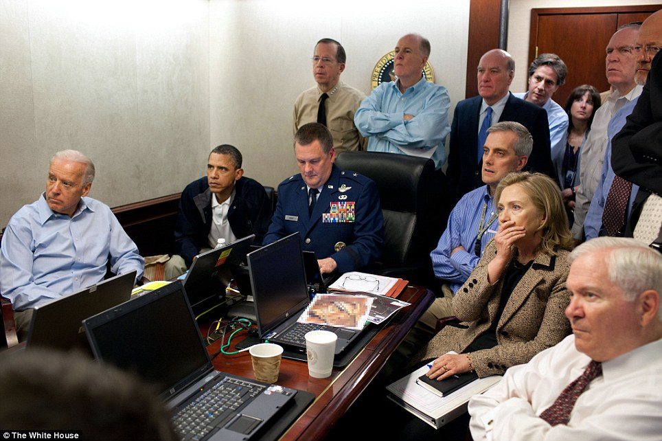 The President and key members watching the live raid on Osama Photo: dailymail