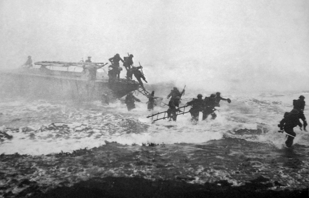 Jack Churchill can be seen on the far right with his sword, leading the charge. PHOTO: wikimedia