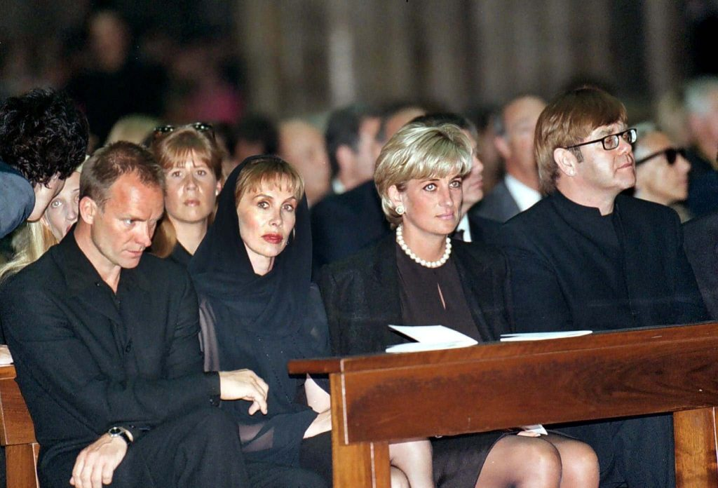 Versace's funeral P\patrons, Princess Diana, Sting and Elton John were few of the many celebrities in attendance Photo: duchessorange