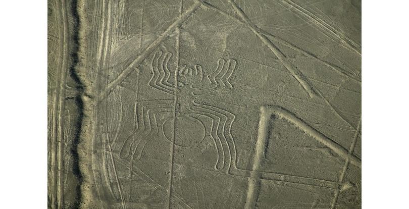 ca. 200 B.C.-600 A.D. --- Aerial view of a spider geoglyph, part of the geoglyphs known as the Nazca Lines. | Located in: Nazca. --- Image by © Keren Su/Corbis