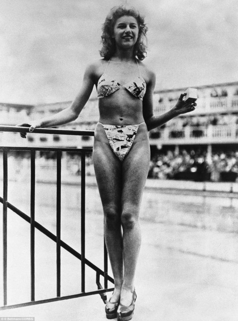 Micheline Bernardini modeling the first Bikini 1946. Photo: dailymail
