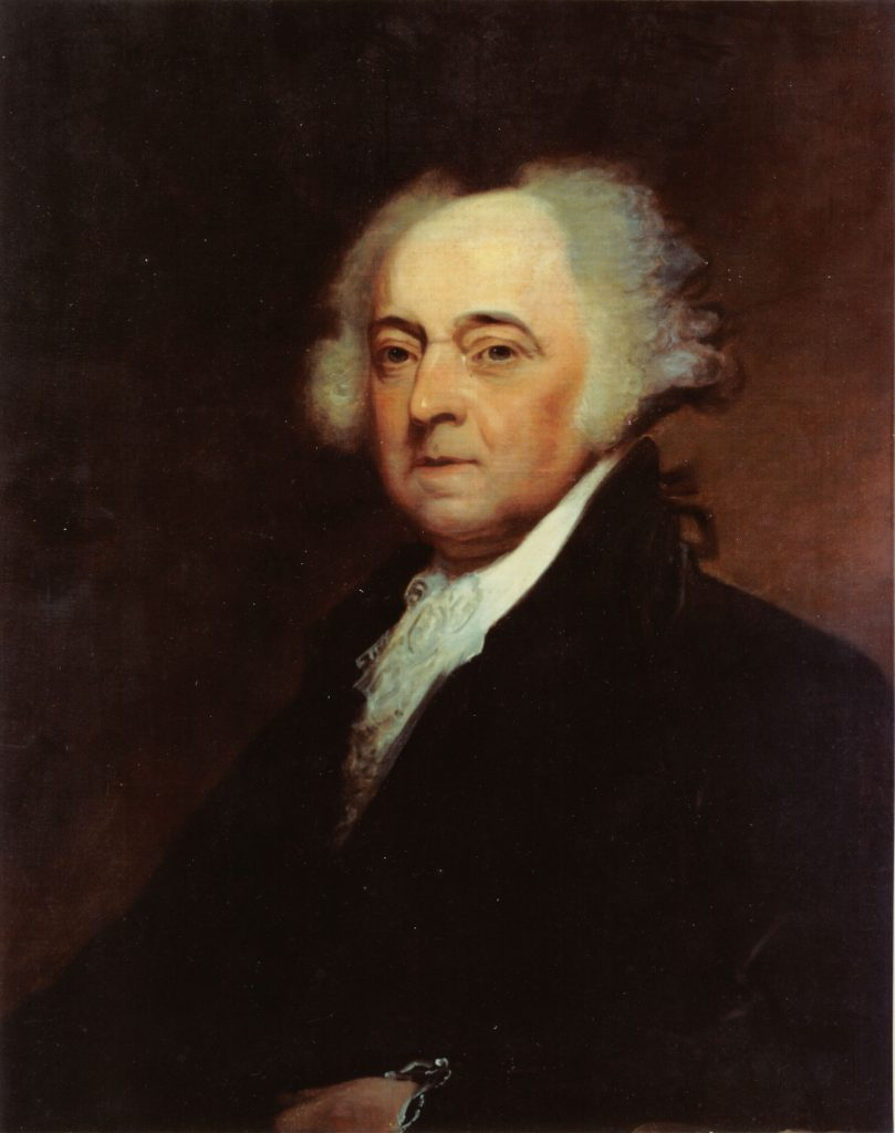 031029-N-6236G-001 Naval Historical Center, Washington, D.C. -- A painting of President John Adams (1735-1826), 2nd president of the United States, by Asher B. Durand (1767-1845). Every October 30th, the birthday of John Adams, Naval Reserve Center (NRC) Quincy, Mass., conducts a wreath-laying ceremony at First Parish Church. Both Adams and his son President John Quincy Adams are buried at the church. Adams was one of the leading advocates for the creation of a Continental Navy, he drafted the first set of rules and regulations for the new navy. He was able to convince the Congress to pass an ÒAct Providing a Naval Armament,Ó which was less than he thought was necessary but at least provided for the equipping of three frigates, the Constitution, the United States, and the Constellation. U.S. Navy photo. (RELEASED)