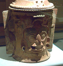 Vase decorated with the Jaguar God of the Underworld. [PHOTO: Wikimedia]