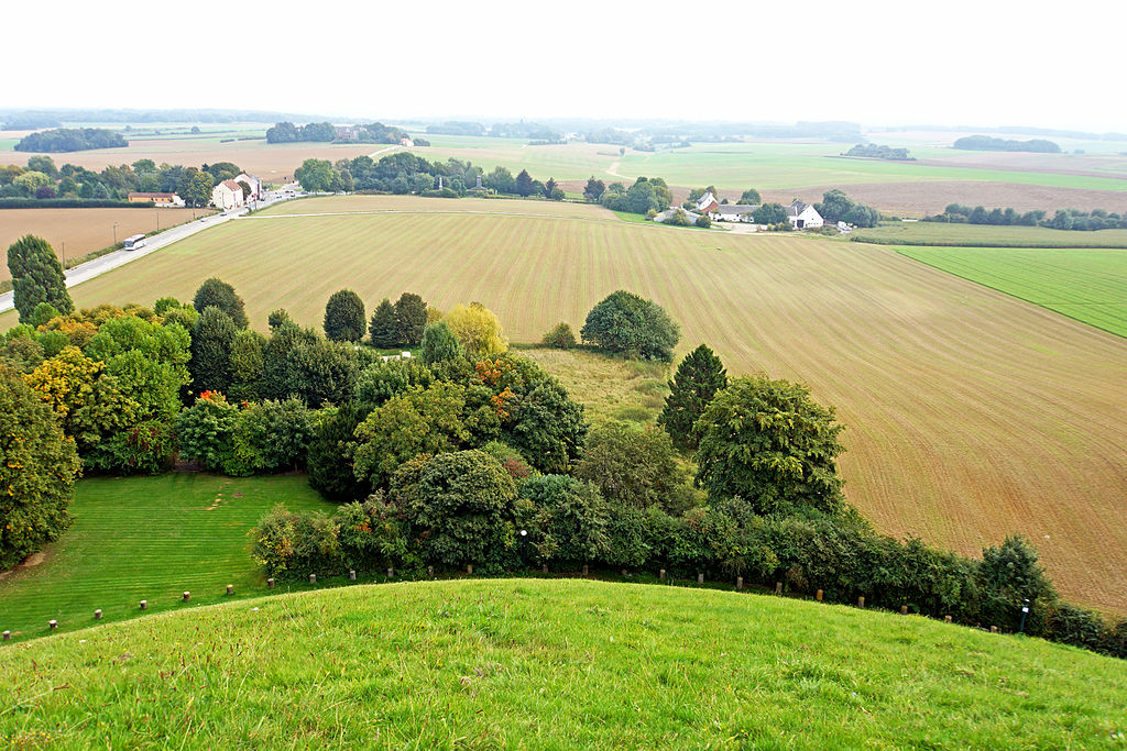 A view of the battlefield. Top right are the road and the buildings of La Haye Sainte. [PHOTO: wikimedia]