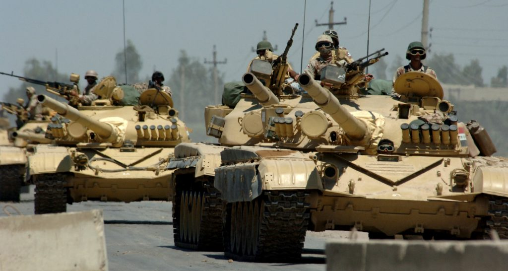 Iraqi T- 72 tanks heading into Kuwait. Photo: wiki