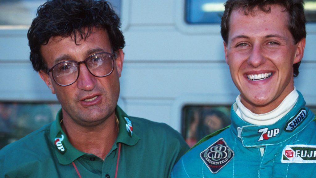 Eddie Jordan and Schumacher at his debut race Photo: skysports
