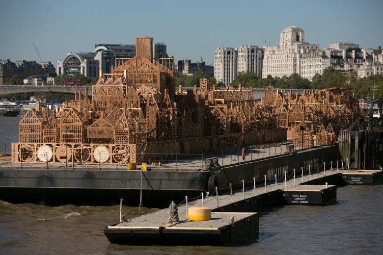 The massive 360ft (120 meter) wooden skyline of London. Photo: trtworld