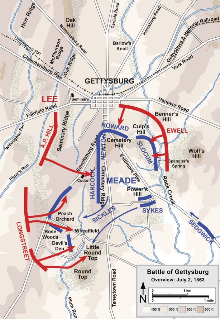 Overview of the second day of the Battle of Gettysburg [PHOTO: wikimedia]