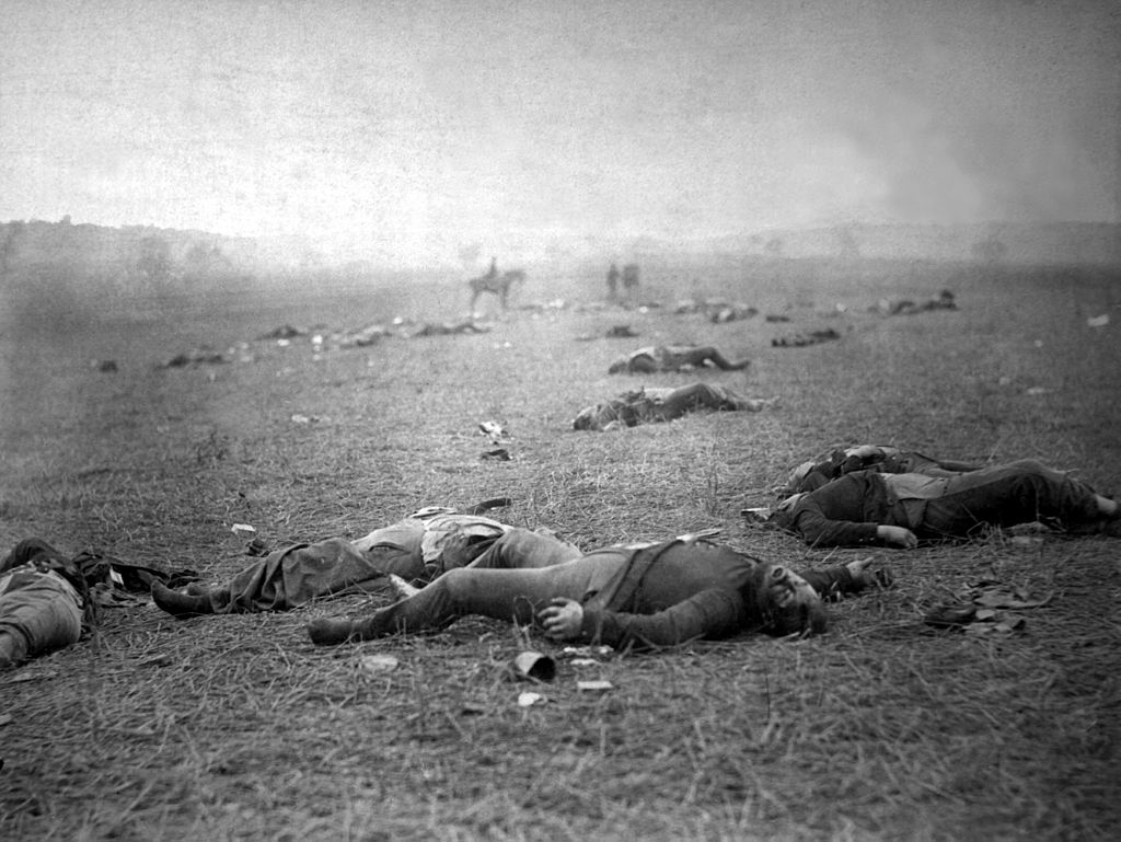 Photograph of the dead Union soldiers on the battlefield of Gettysburg. [PHOTO: wikimedia]