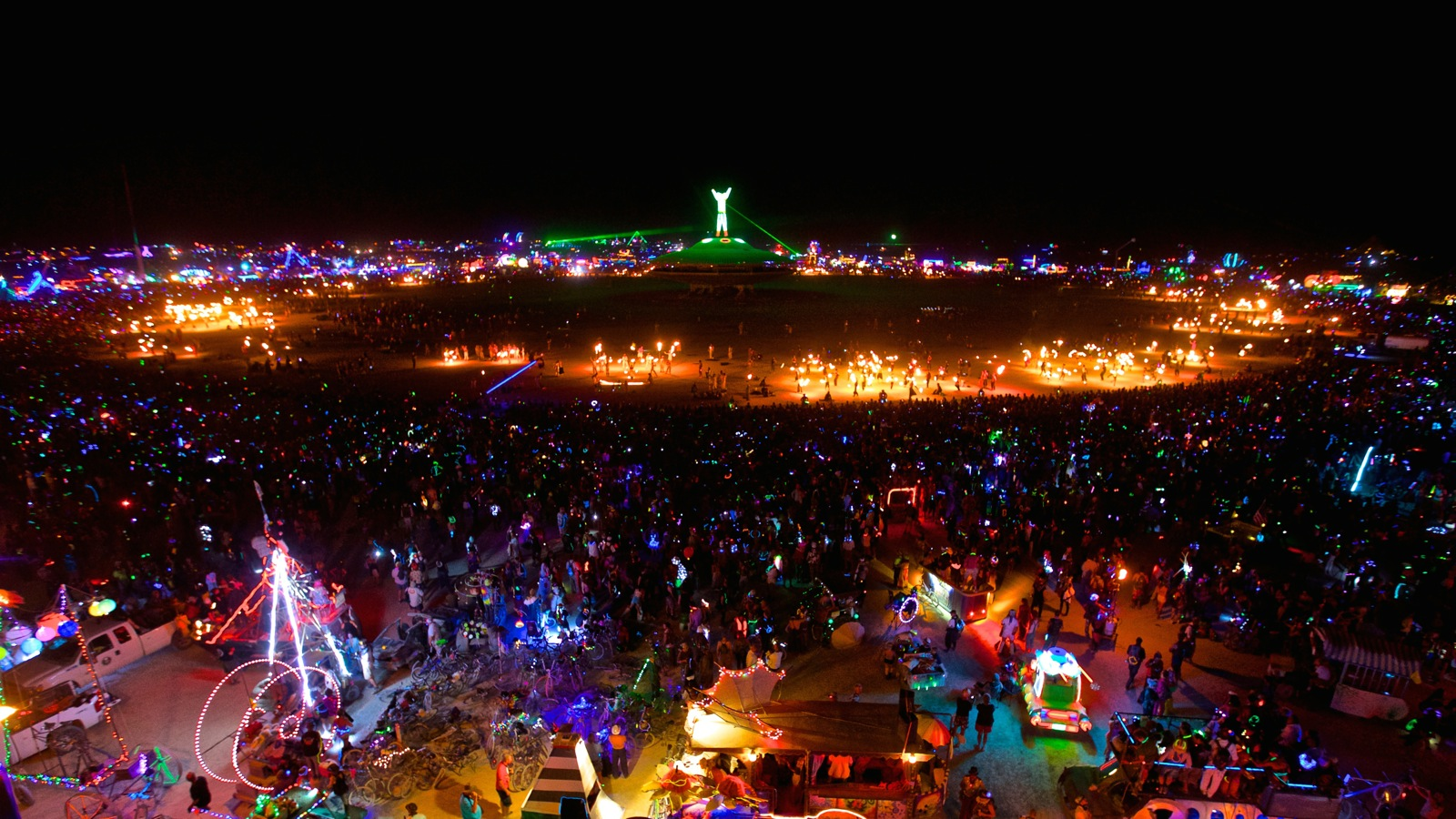 Drones eye view of Burning Man at night. Photo: pinterest
