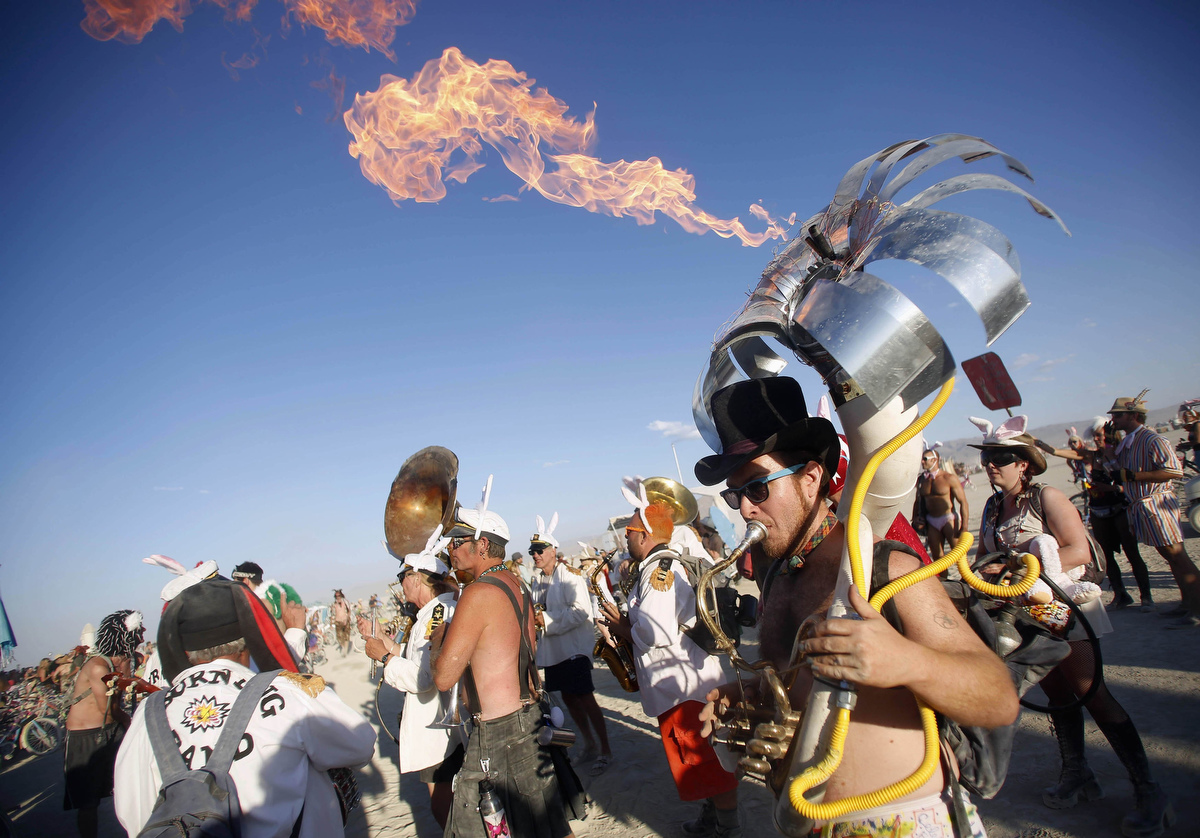 Flaming Tuba Player at Burning Man 2012 Photo: baltimoresun