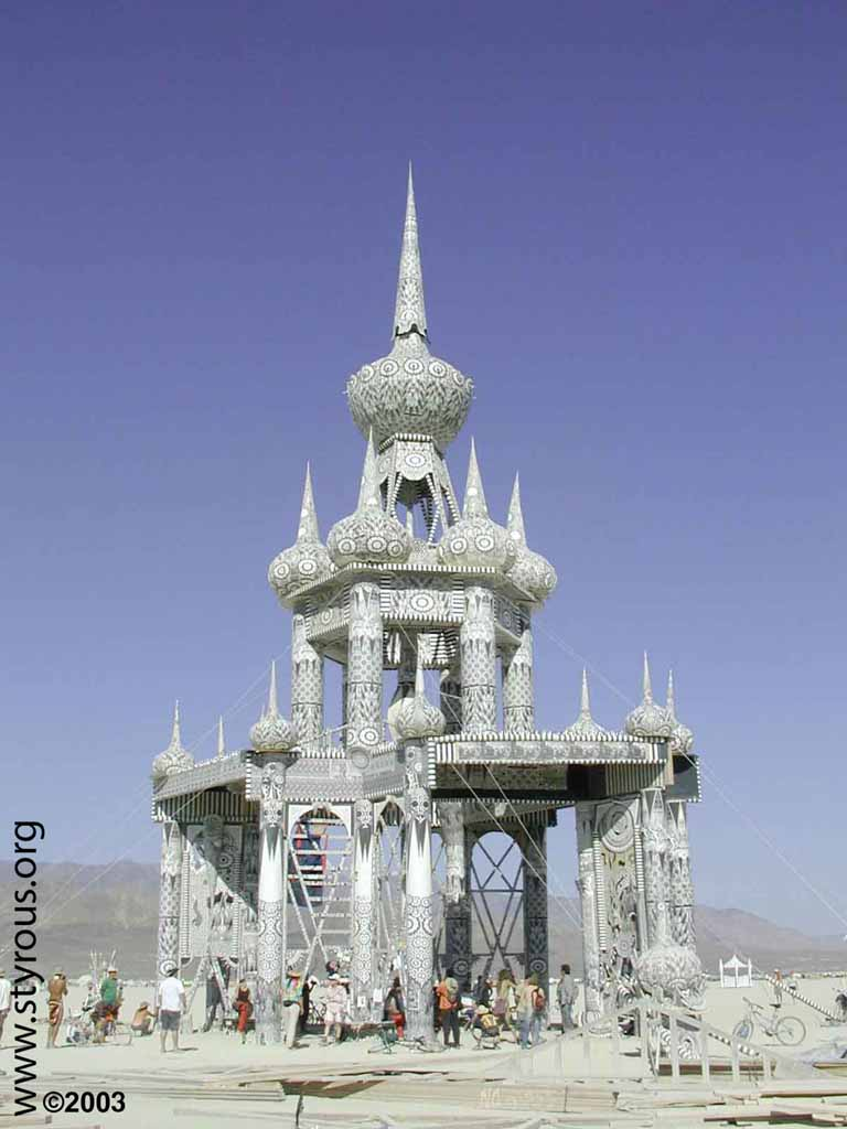 The Temple of Honor built by David Best, Burning Man 2003 Photo: styrous