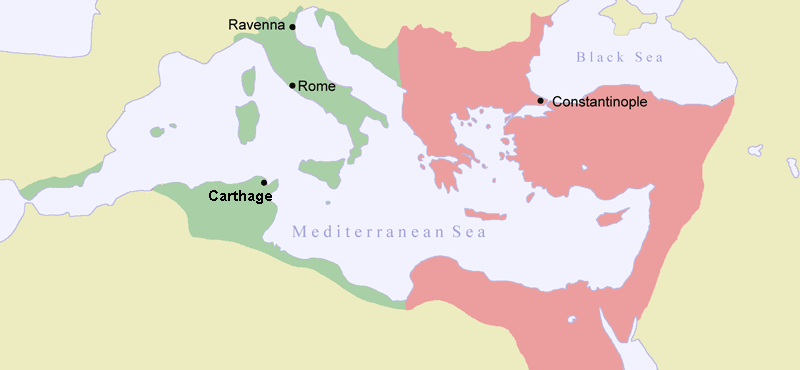 A map of the Byzantine Empire a decade after the Plague of Justinian. [PHOTO: wikimedia]
