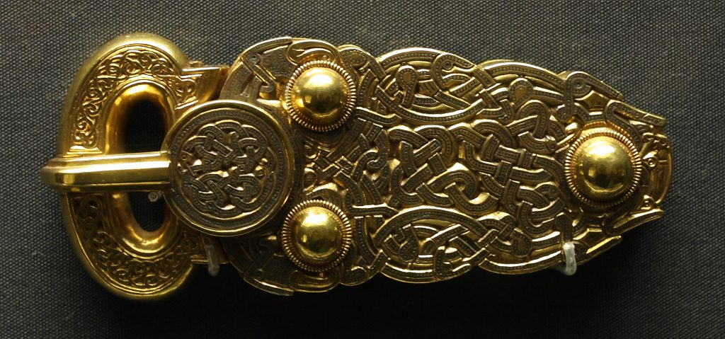 An example of classic Anglo-Saxon metalworking: a gold buckle recovered from the famous Sutton-Hoo burial site. [PHOTO: wikimedia]