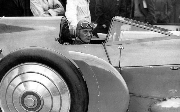 Sir Malcolm Campbell behind the wheel of Blue Bird Photo: telegraph