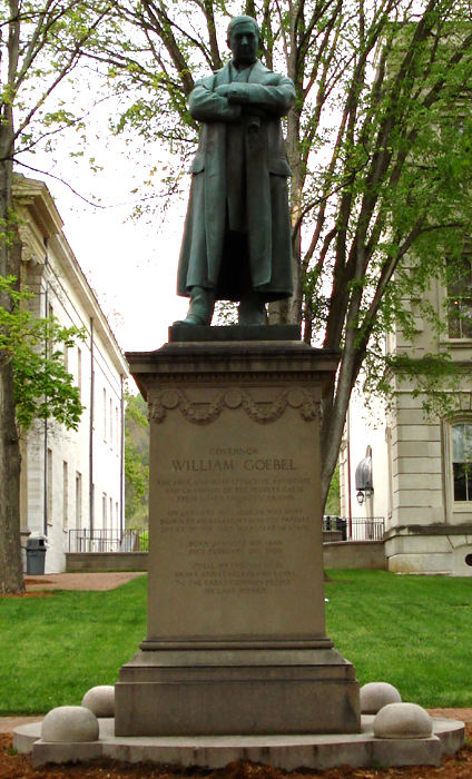 Statue of William Goebel in front of the Old State Capitol building in Frankfort. Photo: wiki