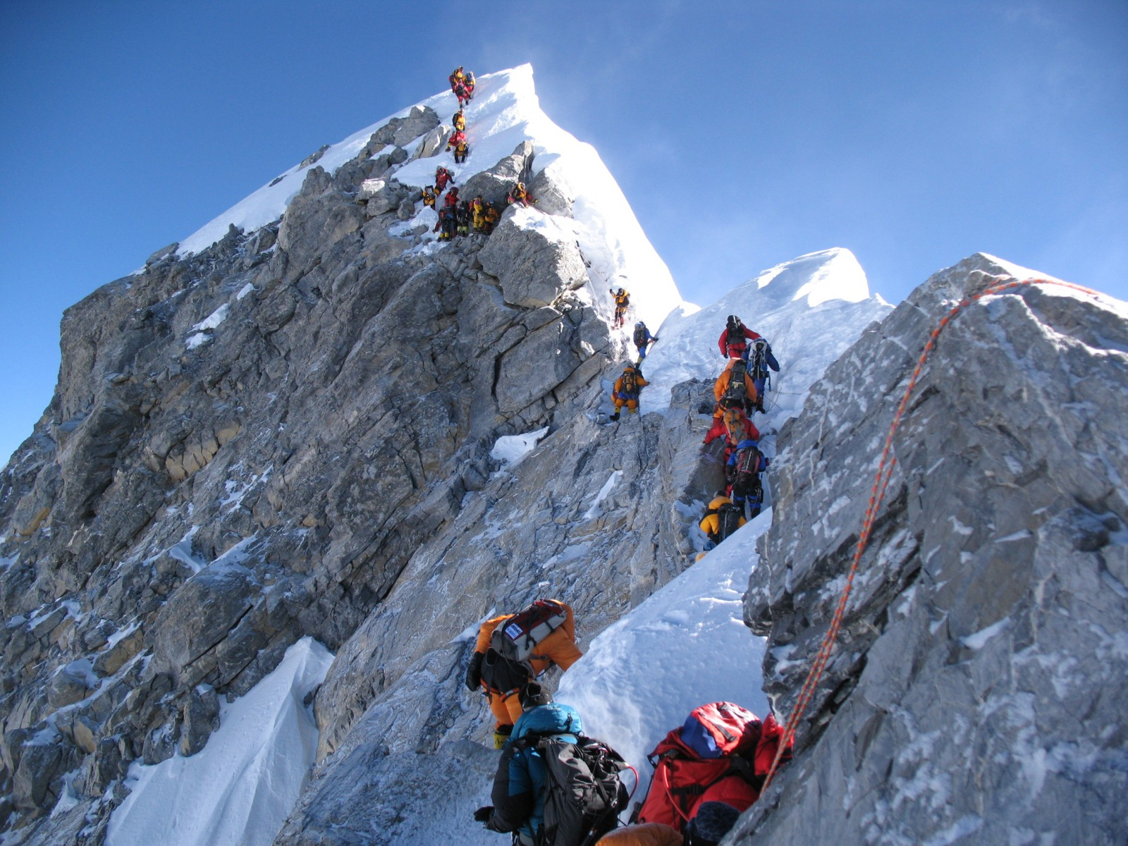 The Hillary Step and th e Summit of Everest from a distance Photo: highlandexpeditions