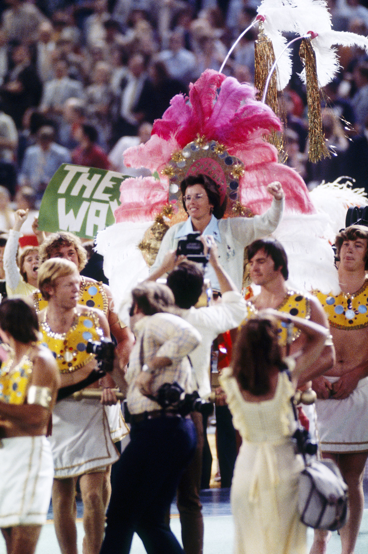 """Billie Jean King carried """"Cleopatra Style"""" onto the court. Photo: espn"""