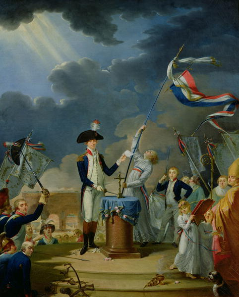 XIR21191 The Oath of Lafayette at the Festival of the Federation, 14th July 1790, 1791 (oil on canvas) by David, Jacques Louis (1748-1825); 100x81 cm; Musee de la Ville de Paris, Musee Carnavalet, Paris, France; (add.info.: son = Georges Washington La Fayette;); French, out of copyright