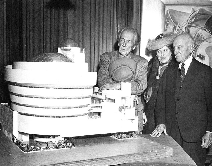 Wright, Rebay and Guggenheim with the scale model of their new mastepeice Photo: westporthistory