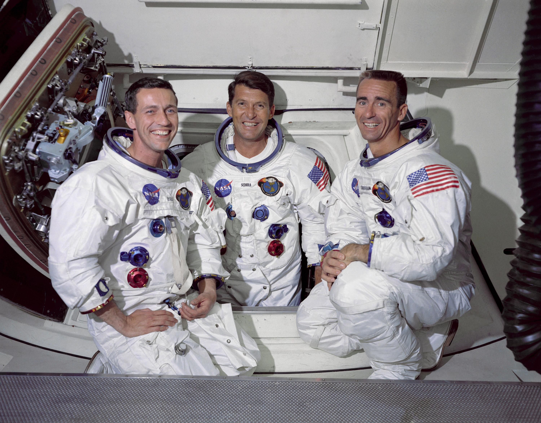 Don F. Eisele, Walter M. Schirra, Walter Cunningham (Left to Right) Photo: wiki