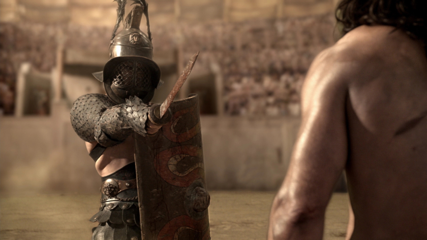 Depiction of a Murmillo gladiator in film. [PHOTO: Historical Novels and Epic Fantasy]