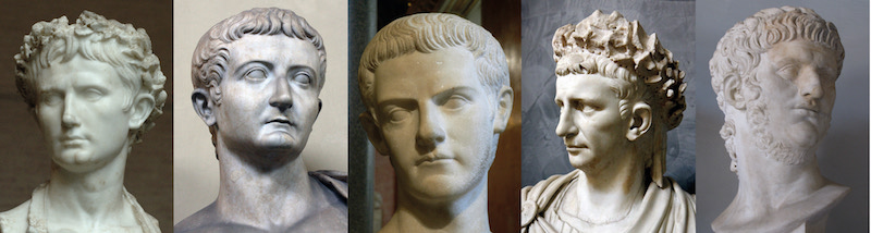 The Julio-Claudian dynasty. Left to right: Julius Caesar, Augustus Caesar, Tiberius Caesar, Gaius Caesar (Caligula), and Caesar Nero. [PHOTO: gohighbrow.com]