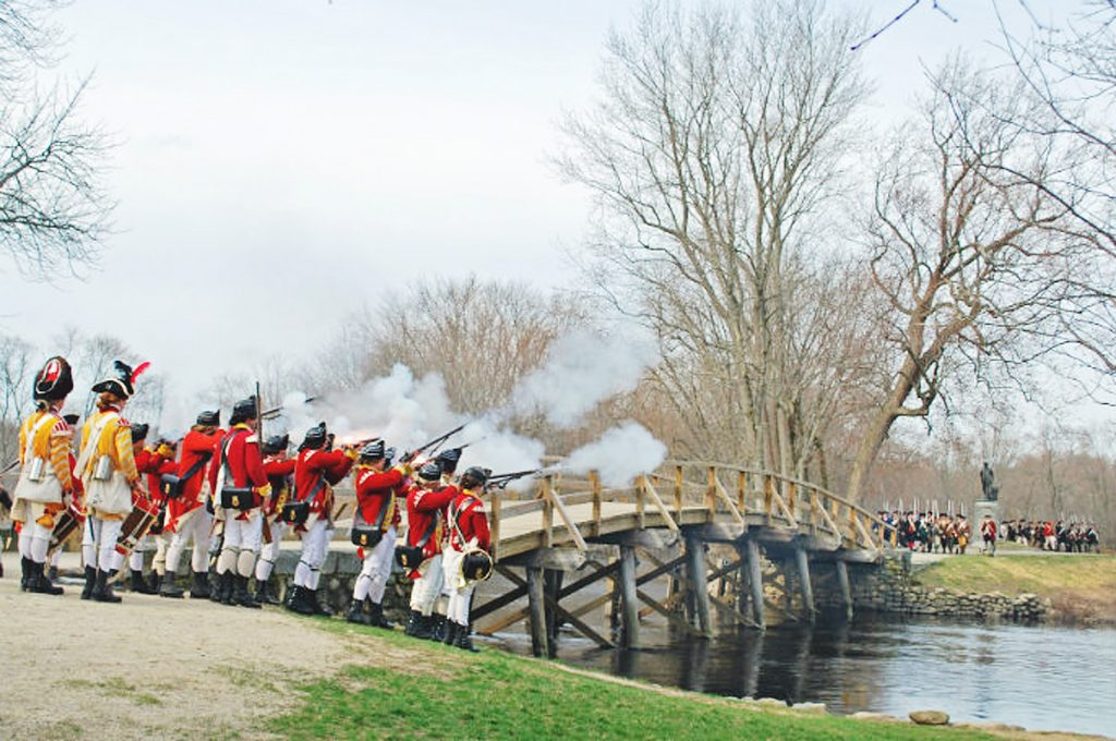 A re-enactment of the battle of Concord. [PHOTO: Lowell Sun]