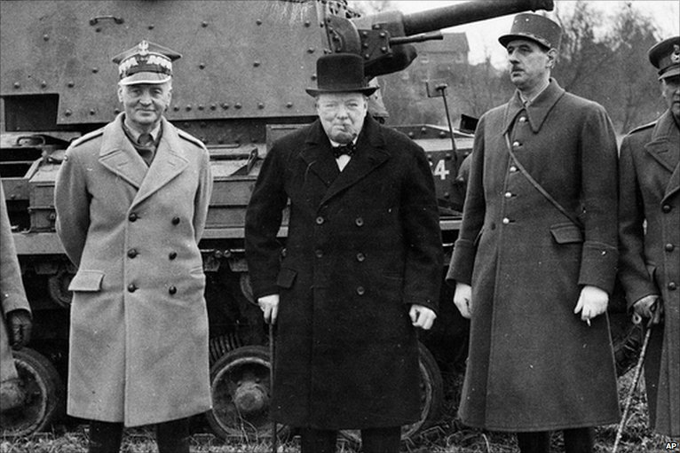 (Sikorsky (left) with Churchill and Charles de Gaulle in WWII | source: sovereignukraine.net)