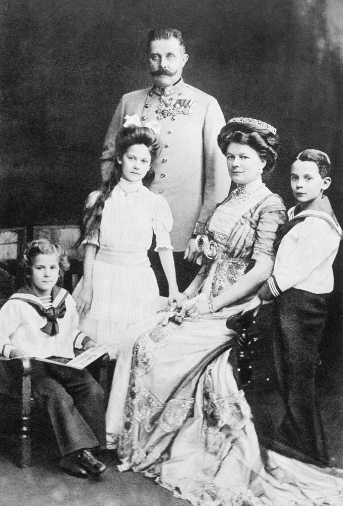 Franz Ferdinand with his wife Sophie and their three children from left to right, Prince Ernst von Hohenberg, Princess Sophie, and Maximilian, Duke of Hohenberg.
