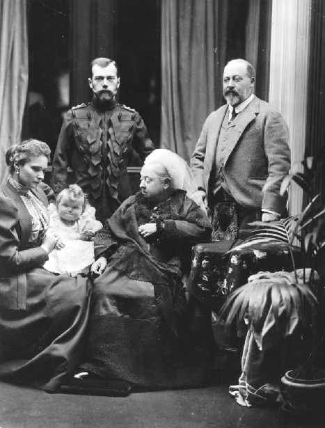 Olga as a baby with her parents visiting Queen Victoria. Source: theromanovfamily.com